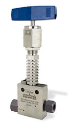 "Ohio Valley Industrial Services- High Pressure Instrumentation- Parker Autoclave Engineers- MAN Series Needle Valve Extreme Temperature shown with ""-VT"" (Vent) option"