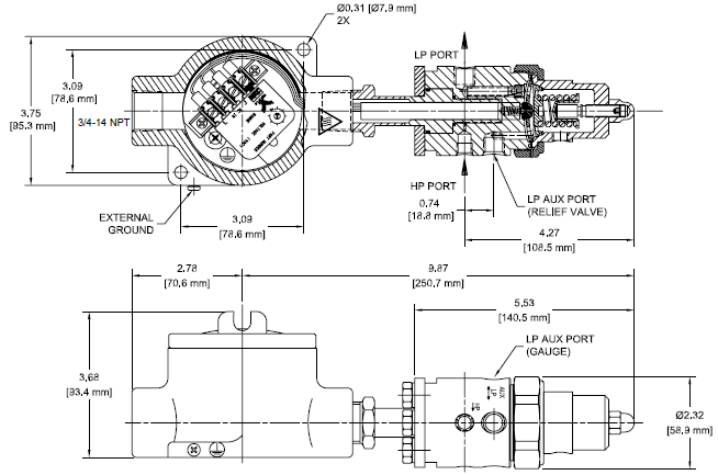 Ohio Valley Industrial Services- Coalescing Filters, Regulators, and Lubricators- AVR4 Series Electrically Heated, Vaporizing Pressure Regulator Drawing