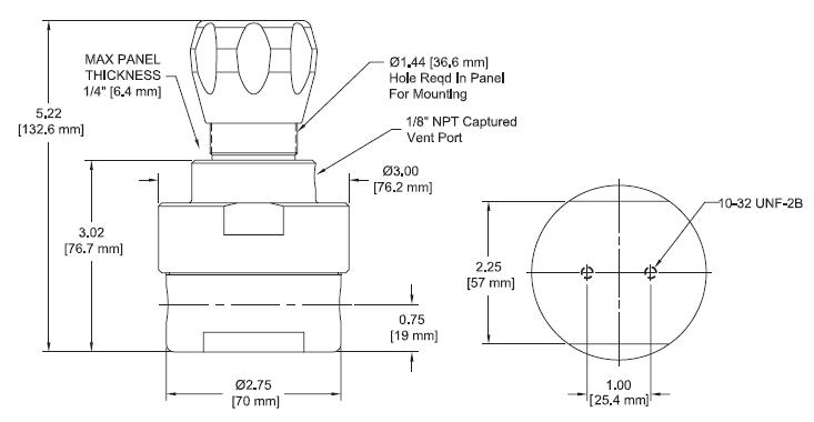 Ohio Valley Industrial Services- Coalescing Filters, Regulators, and Lubricators- IR5000 Series Single-Stage, High Sensitivity Pressure Regulator Drawing